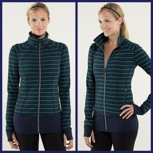 Lululemon Nice Asana Jacket Blue Green Stripe